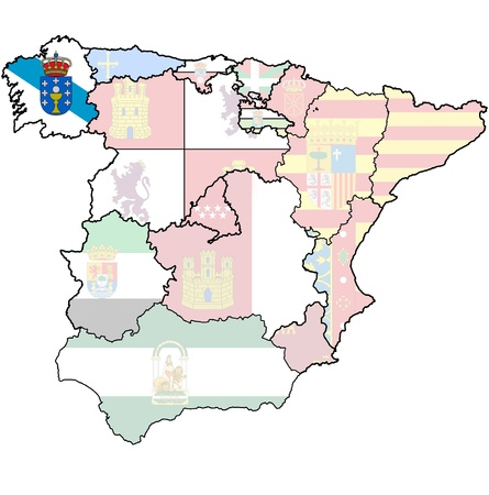 galicia region on administration map of regions of spain with flags and emblems photo