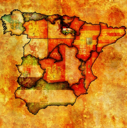 la rioja region on administration map of regions of spain with flags and emblems Stock Photo - 16551528