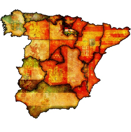 la rioja region on administration map of regions of spain with flags and emblems Stock Photo - 16551490