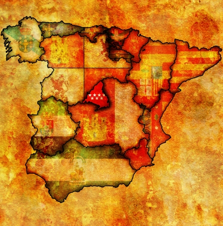 community of madrid region on administration map of regions of spain with flags and emblems Stock Photo - 16551524
