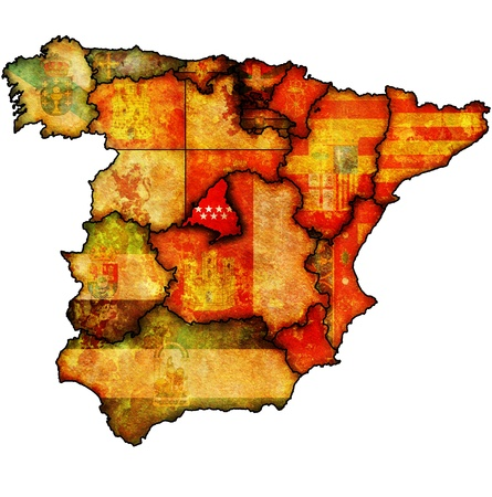 community of madrid region on administration map of regions of spain with flags and emblems Stock Photo - 16551377