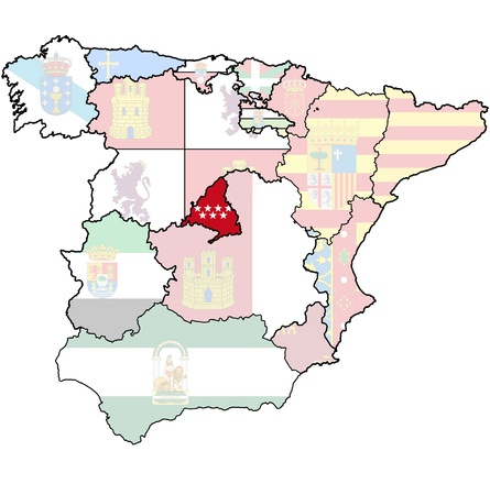 community of madrid region on administration map of regions of spain with flags and emblems Stock Photo - 16551315