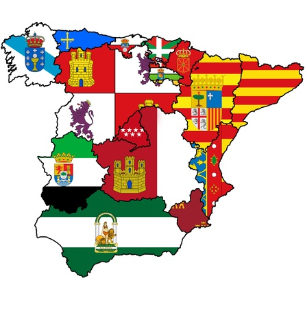regions': administration map of regions of spain with flags and emblems