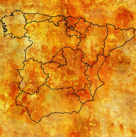 regions of spain on administration map with borders Stock Photo - 16551530