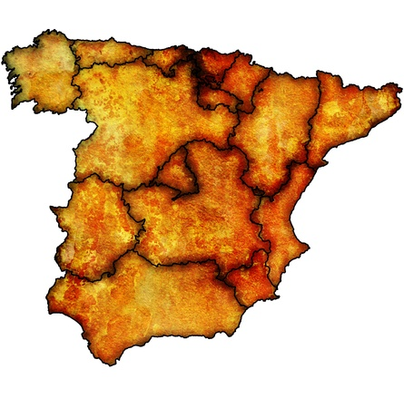 regions of spain on administration map with borders Stock Photo - 16551327