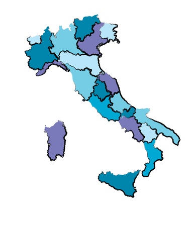 map of italy in cold colors with hand drawn stroke Stock Vector - 17180481