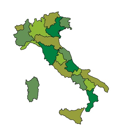 map of italy in green foliage colors Stock Vector - 17180479