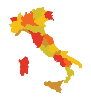 map of italy in saturated colors Stock Vector - 17180478