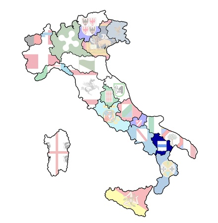 basilicata region on administration map of italy with flags photo