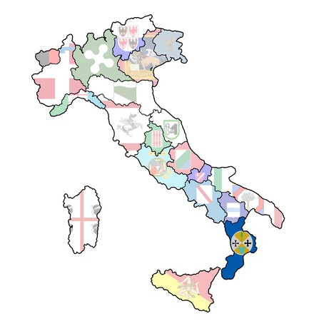 calabria region on administration map of italy with flags photo