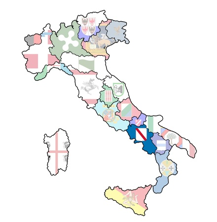 campania region on administration map of italy with flags photo