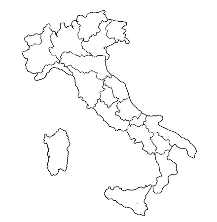 all regions on administration map of italy with flags photo