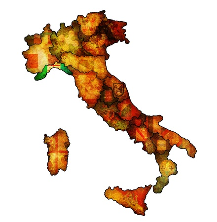 liguria region on administration map of italy with flags photo