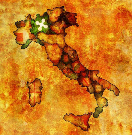 lombardy: lombardy region on administration map of italy with flags Stock Photo