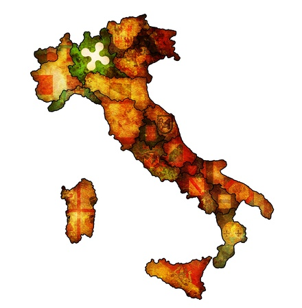 lombardy region on administration map of italy with flags photo