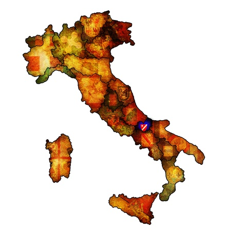 molise: molise region on administration map of italy with flags