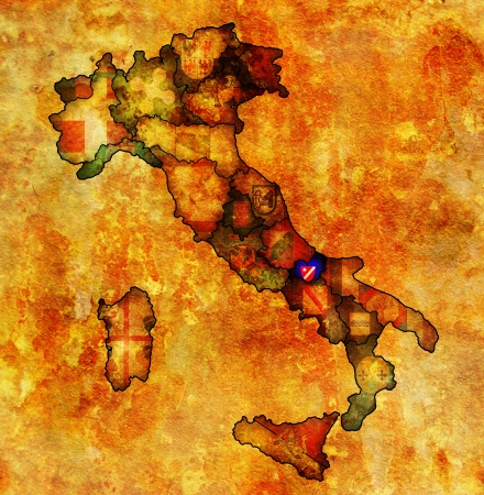 molise region on administration map of italy with flags photo