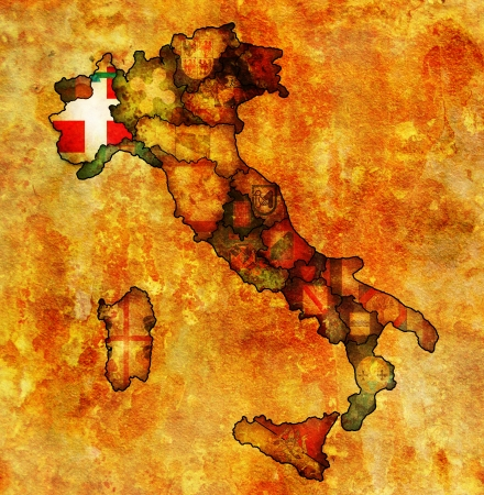 piedmont region on administration map of italy with flags photo