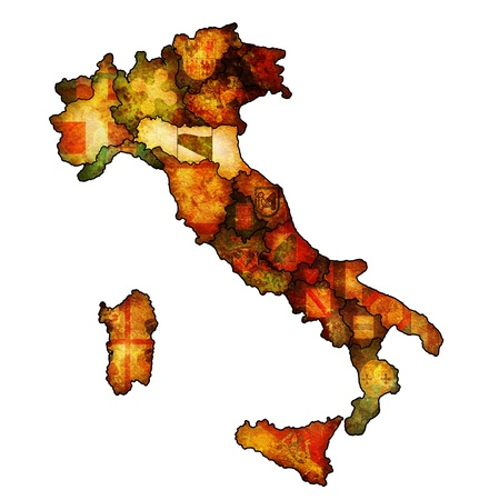 emilia romagna region on administration map of italy with flags photo