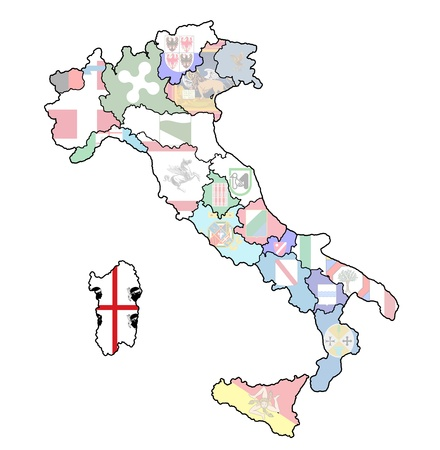 sardinia region on administration map of italy with flags photo