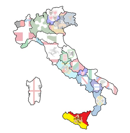 sicily region on administration map of italy with flags