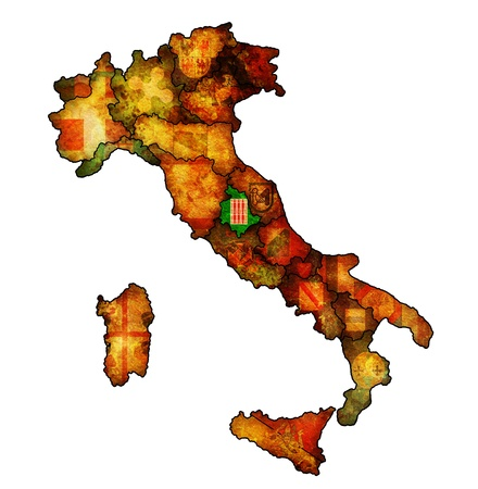 umbria region on administration map of italy with flags photo