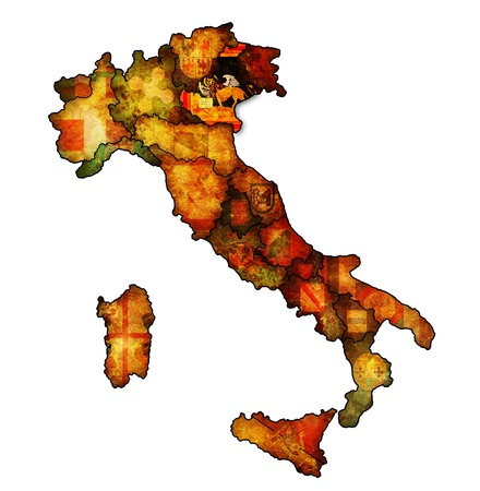 veneto region on administration map of italy with flags photo