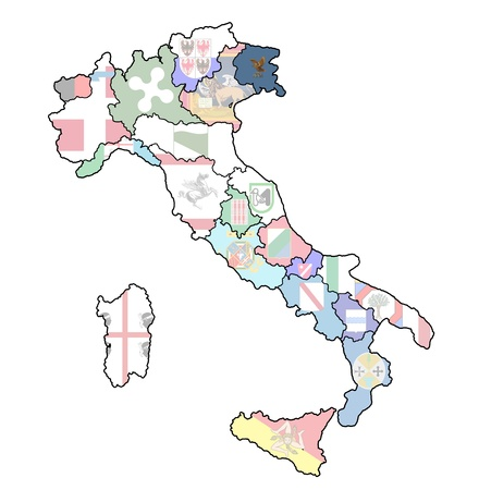 lazio region on administration map of italy with flags photo