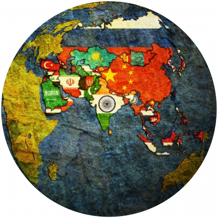 isolated over white territories of asian countries with flags on globe map photo