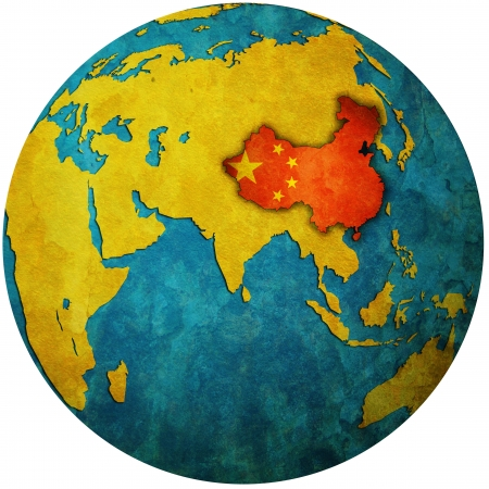 territory: isolated over white territory of china with flag on globe map