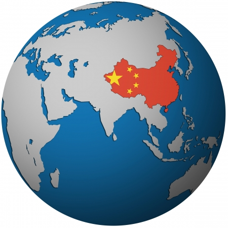flag of china: isolated over white territory of china with flag on globe map