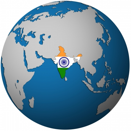 isolated over white territory of india with flag on globe map