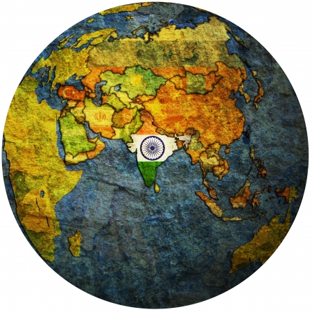 globe map: isolated over white territory of india with flag on globe map