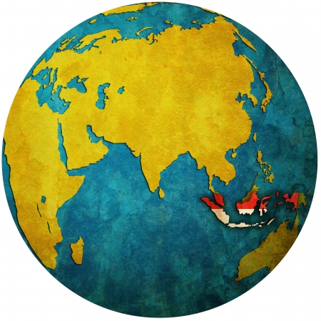 territory: isolated over white territory of indonesia with flag on globe map
