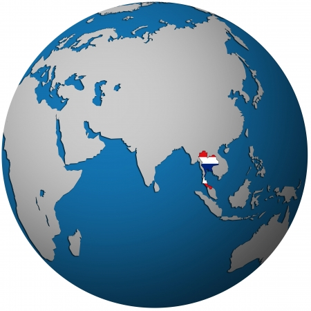 isolated over white territory of thailand with flag on globe map photo