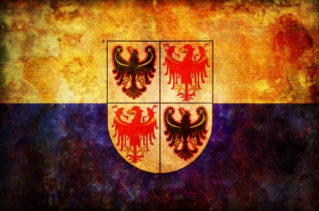tyrol: old vintage flag of trentino south tyrol region in italy