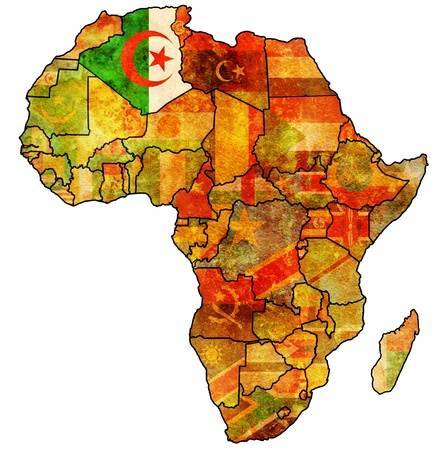 actual: algeria on actual vintage political map of africa with flags Stock Photo