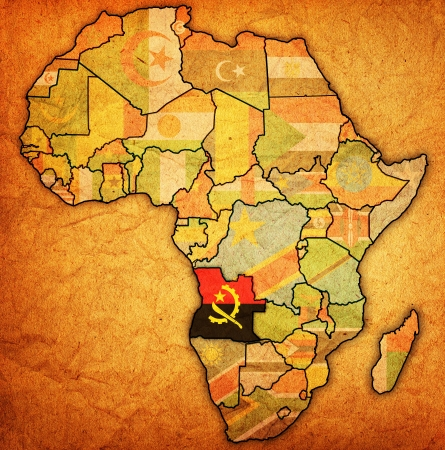 actual: angola on actual vintage political map of africa with flags Stock Photo