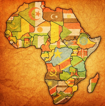 actual: african union on actual vintage political map of africa with flags