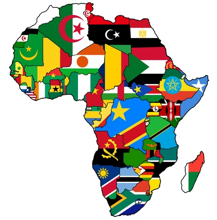 african union on actual vintage political map of africa with flags photo