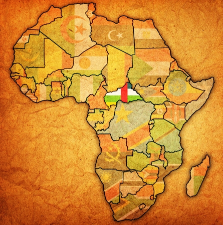 actual: central african republic on actual vintage political map of africa with flags