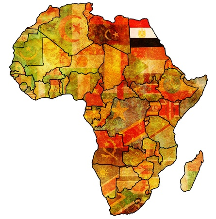 egypt on actual vintage political map of africa with flags photo