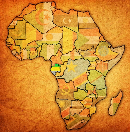 actual: gabon on actual vintage political map of africa with flags Stock Photo