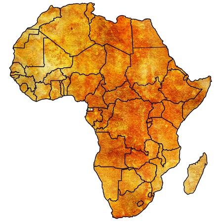 Guinea Ecuatorial en el mapa político de época real de África con las banderas