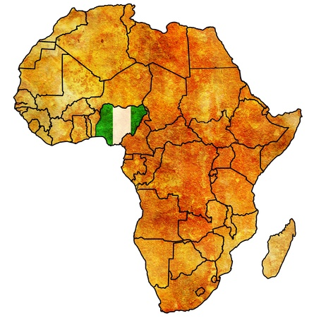 actual: nigeria on actual vintage political map of africa with flags Stock Photo