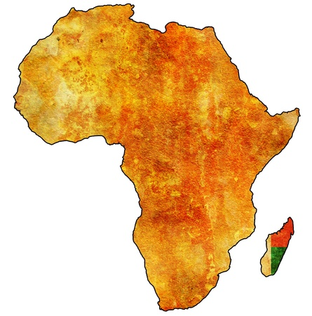 actual: madagascar on actual vintage political map of africa with flags Stock Photo