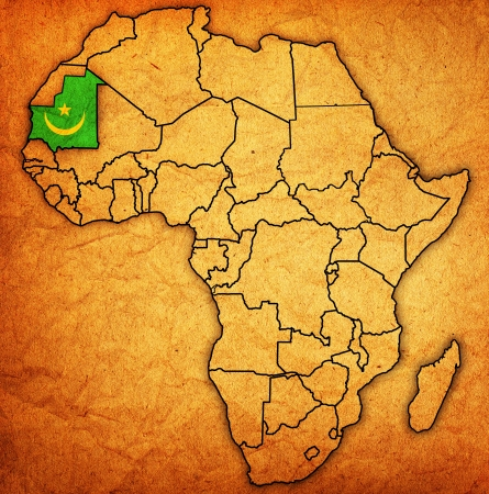 actual: mauritania on actual vintage political map of africa with flags