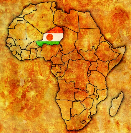 actual: niger on actual vintage political map of africa with flags