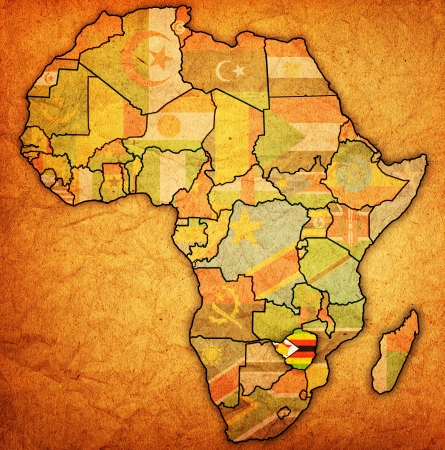 actual: zimbabwe on actual vintage political map of africa with flags