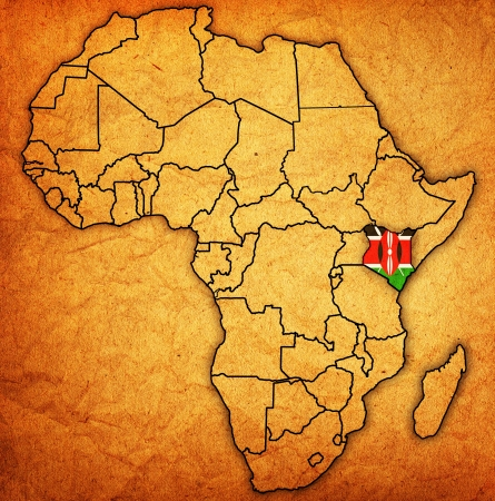 actual: kenya on actual vintage political map of africa with flags Stock Photo